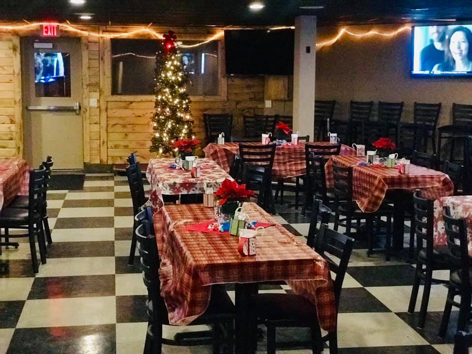 Banquet room at Christmas